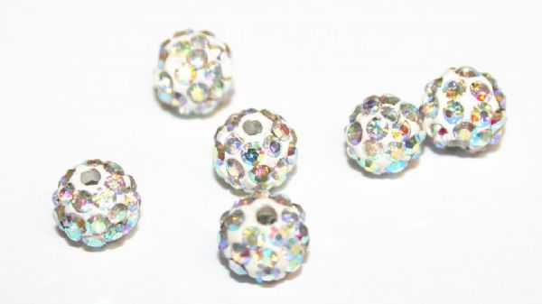 10pcs x 6mm Clear AB Pave Crystal Bead - 2 holes - PCB06-55-001